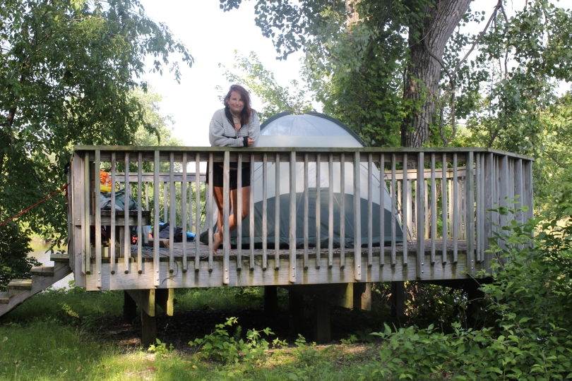 A magical forest gazebo we found on an island outside of McGregor IA - we came dangerously close to sleeping under a freeway overpass that night.  High water and e.coli have limited our campsites.