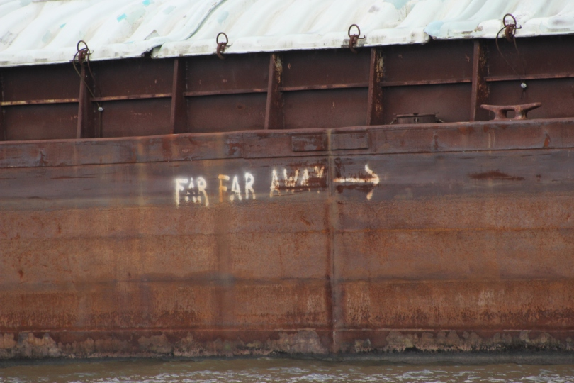 Barge graffiti outside of St. Francisville, LA.